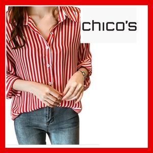 Chico's Red&White Striped Shirt